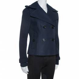 Burberry Navy Blue Wool Blend Knitted Sleeve Pea Coat S 334296