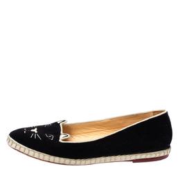 Charlotte Olympia Black Velvet Kitty Slip On Loafers Size 40 335328