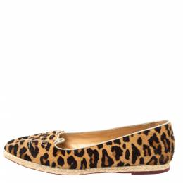 Charlotte Olympia Brown Animal Print Calf Hair Kitty Slip On Loafers Size 40 335335