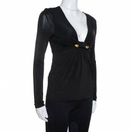 Roberto Cavalli Black Jersey Gathered Brooch Detail Top S 333798