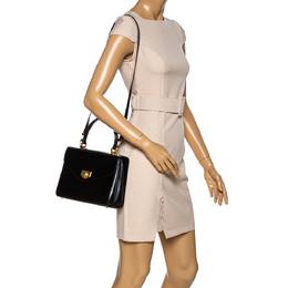 Bally Black Leather Vintage Top Handle Bag 333896