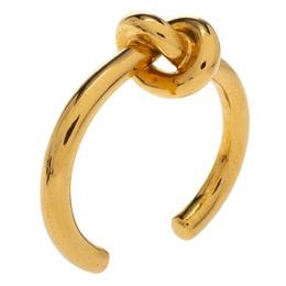 Celine Gold Tone Thick Knot Open Cuff Bracelet L 334073