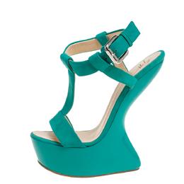 Giuseppe Zanotti Design Turquoise Blue Suede T Strap Platform Heel Less Wedge Sandals Size 38 333615