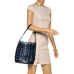 Kate Spade Navy Blue Leather Dorie Medium Bucket Bag 330180