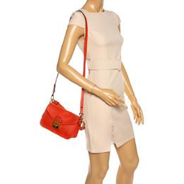 Longchamp Orange Perforated Leather Mademoiselle Top Handle Bag 328715