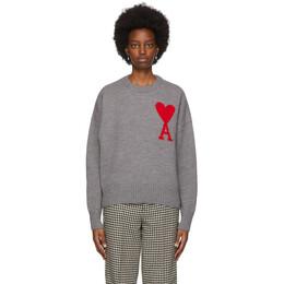 Ami Alexandre Mattiussi Grey Ami De Coeur Heart Sweater H20FK009.018