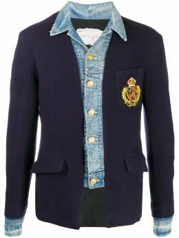 Greg Lauren пиджак со вставками из денима AM102