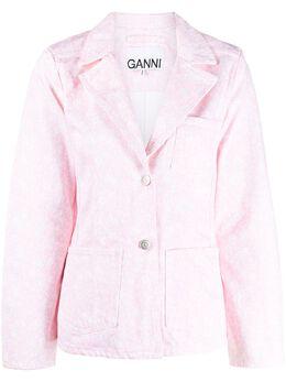 Ganni джинсовая куртка с цветочным принтом F4794
