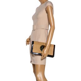 Tory Burch Tan/Black Raffia and Patent Leather Reva Foldover Clutch 334201
