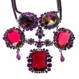 Dior Gunmetal Tone Crystal Statement Necklace 335054