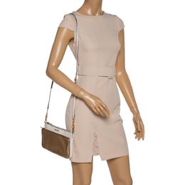 Miu Miu White/Gold Leather Double Zip Crossbody Bag 334354