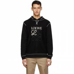 Loewe Black and Off-White Anagram Embroidered Hoodie H526341XAL