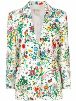 Gucci Pre-Owned однобортный жакет с цветочным принтом 29706028193