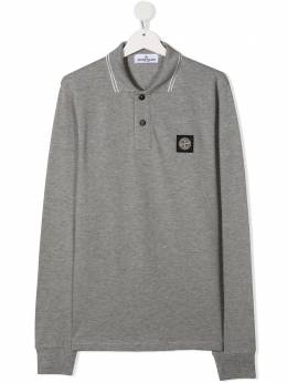 Stone Island Junior рубашка поло с нашивкой-логотипом 731620748