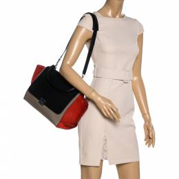 Celine Multicolor Leather and Suede Medium Trapeze Bag 335031