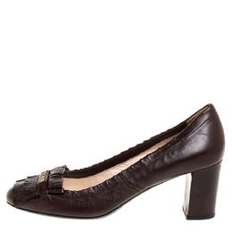 Prada Brown Leather Fringe Loafer Pumps Size 37 335686