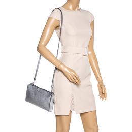Michael Kors Metallic Silver Leather Crossbody Bag 335304