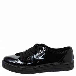 Prada Sports Black Patent Leather Lace Up Sneakers Size 38 335810
