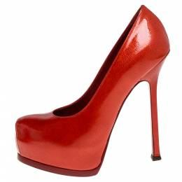 Yves Saint Laurent Red Patent Leather Tribtoo Platform Pumps Size 37.5 335804