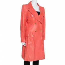 Chanel Coral Pink Leather Double Breasted Trench Coat L 333849