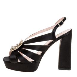 Roger Vivier Black Satin Mino Broche Vivier Buckle Platform Sandals Size 38 335622