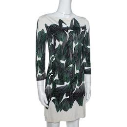 Diane Von Furstenberg Cream Abstract Print Silk Ruri Shift Dress S 334974