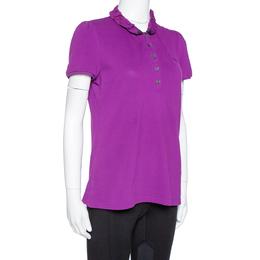 Burberry Brit Purple Cotton Ruffled Collar Polo T-Shirt M 334372