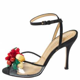 Charlotte Olympia Black Canvas Trims And PVC Tropicana Ankle Strap Sandals Size 40 335882