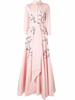 Carolina Herrera расклешенное вечернее платье с цветочным принтом F2011E703SFA