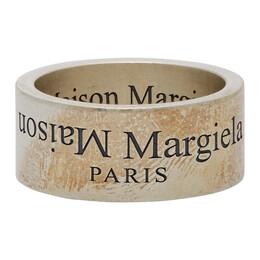 Maison Margiela Gold and Black Wide Logo Ring SM2UQ0002 S12739