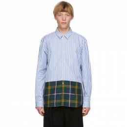 Comme Des Garcons Homme Plus Blue and White Striped Tartan Shirt PF-B012-051
