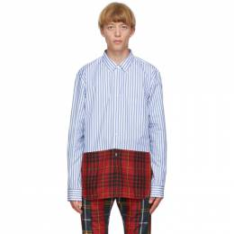 Comme Des Garcons Homme Plus White and Blue Cotton Broadcloth Shirt PF-B012-051