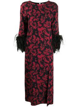 16Arlington платье Billie с принтом и перьями D021AW20BLK