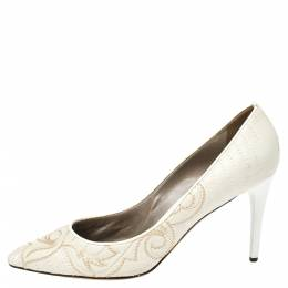 Versace White Embroidered Quilted Leather Pointed Toe Pumps Size 39 335962