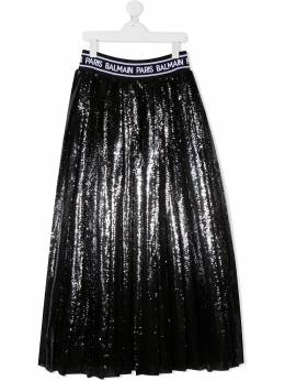 Balmain Kids юбка миди с пайетками 6N7030NF110