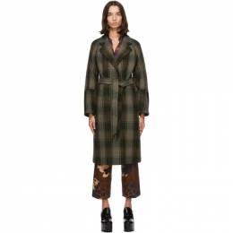 Dries Van Noten Khaki Check Belted Coat 1132 Rubia
