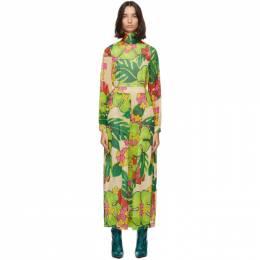 Dries Van Noten Green Floral Maxi Dress 1062 Devir Long