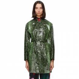 Dries Van Noten Green Snake Coated Trench Coat 1079 Ramblas Bis