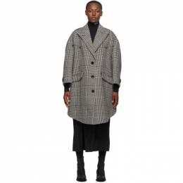 Mm6 Maison Margiela Black and White Oversize Wool Shetland Coat S62AA0032 S53394
