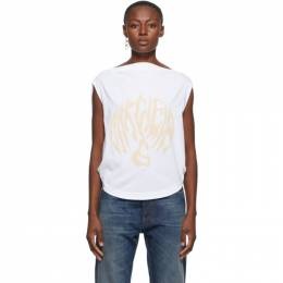 Mm6 Maison Margiela White Draped Logo T-Shirt S62GD0073 S23588