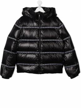 Young Versace feather-down jacket with logo tape detail YD000320A235691