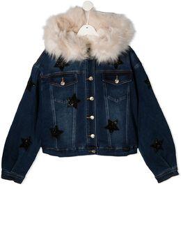 Monnalisa джинсовая куртка с капюшоном и искусственным мехом 496101AD6044