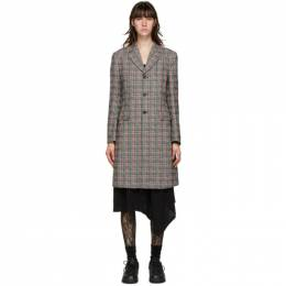 Comme Des Garcons Homme Plus Pink and Green Check Back Cut-Out Coat PF-J048-051