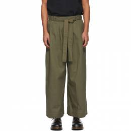 Naked And Famous Denim SSENSE Exclusive Khaki Wide-Leg Trousers SSE258548