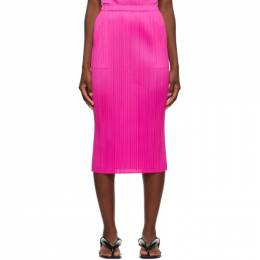 Pleats Please Issey Miyake Pink New Colorful Basics 2 Mid-Length Skirt PP08JG908