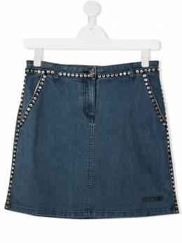 Moschino Kids джинсовая юбка со стразами HDJ01WLXE16