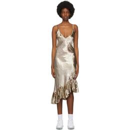 Collina Strada Gold Velvet Michi Mid-Length Dress XX4381