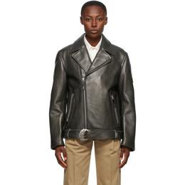 Ader Error Black Leather Oversized Norman Jacket BTAFWJK04BK