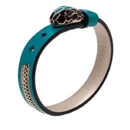 Bvlgari Serpenti Forever 3 Chain Motif Enamel Green Leather Gold Plated Bracelet 335573
