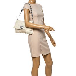 Miu Miu White Matelasse Nappa Leather Crystal Shoulder Bag 339071